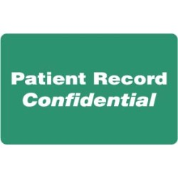"HIPAA Labels, Patient Record Confidential - Green, 4"" X 2.5"" (Roll of 100)"