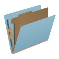 Pressboard Classification Folders, Full Cut End Tab, Letter Size, 1 Divider, Light Blue (Box...