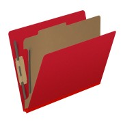 DV-S42-14-3DRED - Pressboard Classification Folders, Full Cut End Tab, Letter Size, 1 Divider, Red (Box of 10)