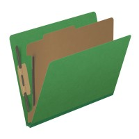 Pressboard Classification Folders, Full Cut End Tab, Letter Size, 1 Divider, Moss Green (Box...