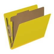 DV-S42-14-3YLW - Pressboard Classification Folders, Full Cut End Tab, Letter Size, 1 Divider, Yellow (Box of 10)