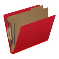 Pressboard Classification Folders, Full Cut End Tab, Letter Size, 2 Dividers, Deep Red (Box ...