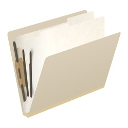 18 Pt. Manila Classification Folders, Full Cut End Tab, Letter Size, 2 Dividers (Box of 10)