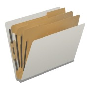 DV-S43-38-3GRY - Pressboard Classification Folders, Full Cut End Tab, Letter Size, 3 Dividers, Light Gray (Box of 10)