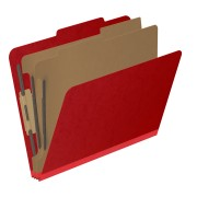 DV-T42-26-3DRED - 25 Pt. Pressboard Classification Folders, 2/5 Cut ROC Top Tab, Letter Size, 2 Dividers, Red (Box of 10)
