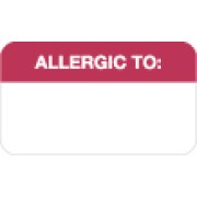 "S-8065 - Allergy Warning Labels, ALLERGIC TO: - Red/White, 1-1/2"" X 7/8"" (Roll of 250)"