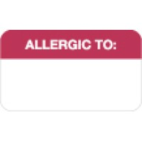 "Allergy Warning Labels, ALLERGIC TO: - Red/White, 1-1/2"" X 7/8"" (Roll of 250)"