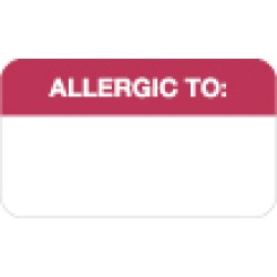 Allergy Warning Labels, ALLERGIC TO: - Red/White, 1-1/2&#34 X 7/8&#34 (Roll of 250)