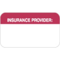 "Insurance Labels, INSURANCE PROVIDER - Red/White, 1-1/2"" X 7/8"" (Roll of 250)"