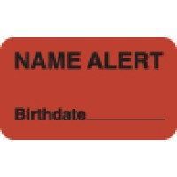 "Attention/Alert Labels, NAME ALERT - Fl Red, 1-1/2"" X 7/8"" (Roll of 250)"
