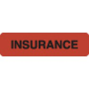 S-8007 - Insurance Labels, INSURANCE- Fl Red, 1-1/4&#34 X 5/16&#34 (Roll of 500)