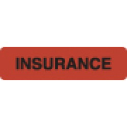 Insurance Labels, INSURANCE- Fl Red, 1-1/4&#34 X 5/16&#34 (Roll of 500)
