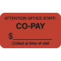 "Insurance Labels, CO-PAY - Fl Red, 1-1/2"" X 7/8"" (Roll of 250)"