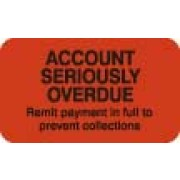 "S-1400 - Billing Collection Labels, ACCOUNT SERIOUSLY OVERDUE - Fl Red, 1-1/2"" X 7/8"" (Roll of 250)"