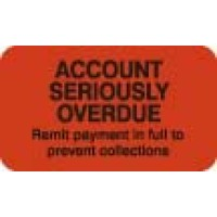 "Billing Collection Labels, ACCOUNT SERIOUSLY OVERDUE - Fl Red, 1-1/2"" X 7/8"" (Roll of ..."