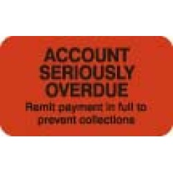 "Billing Collection Labels, ACCOUNT SERIOUSLY OVERDUE - Fl Red, 1-1/2"" X 7/8"" (Roll of 250)"