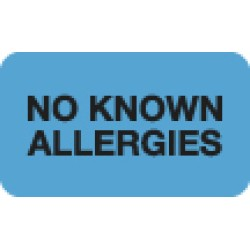 "Allergy Warning Labels, NO KNOWN ALLERGIES - Lt Blue, 1-1/2"" X 7/8"" (Roll of 250)"