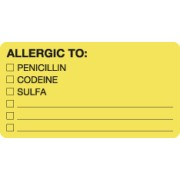 "S-1550 - Allergy Warning Labels, ALLERGIC TO: - Fl Chartreuse, 3-1/4"" X 1-3/4"" (Roll of 250)"
