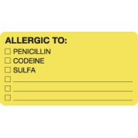 "Allergy Warning Labels, ALLERGIC TO: - Fl Chartreuse, 3-1/4"" X 1-3/4"" (Roll of 250)"