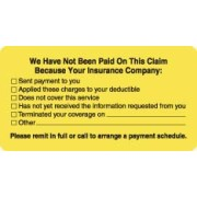 "S-1560 - Patient Responsibility Labels, We Have Not Been Paid... - Fl Chartreuse, 3-1/4"" X 1-3/4"" (Roll of 250)"