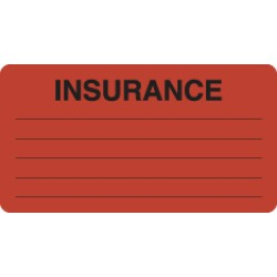 Insurance Labels, INSURANCE - Fl Red, 3-1/4&#34 X 1-3/4&#34 (Roll of 250)