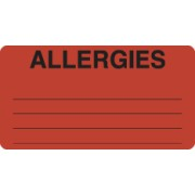 "S-8002 - Allergy Warning Labels, ALLERGIES - Fl Red, 3-1/4"" X 1-3/4"" (Roll of 250)"