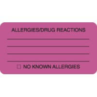 "Allergy Warning Labels, ALLERGIES/DRUG REACTIONS - Fl Pink, 3-1/4"" X 1-3/4"" (Roll of 250)"