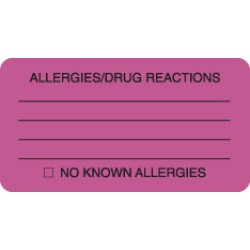Allergy Warning Labels, ALLERGIES/DRUG REACTIONS - Fl Pink, 3-1/4&#34 X 1-3/4&#34 (Roll of 250)