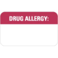 "Allergy Warning Labels, Drug Allergy: - Red/White, 1-1/2"" X 7/8"" (Roll of 250)"