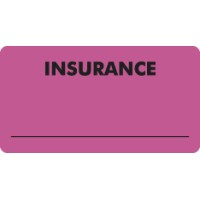 "Insurance Labels, INSURANCE - Fl Pink, 3-1/4"" X 1-3/4"" (Roll of 250)"