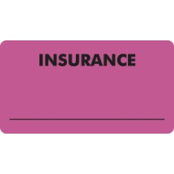 Insurance Labels, INSURANCE - Fl Pink, 3-1/4&#34 X 1-3/4&#34 (Roll of 250)