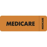 "S-3080 - Insurance Labels, MEDICARE - Fl Orange (Wrap-around), 3"" X 1"" (Roll of 250)"