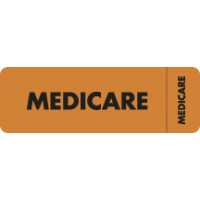 "Insurance Labels, MEDICARE - Fl Orange (Wrap-around), 3"" X 1"" (Roll of 250)"