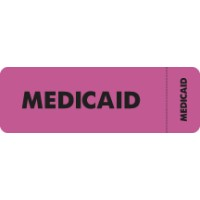 "Insurance Labels, MEDICAID - Fl Pink (Wrap-around), 3"" X 1"" (Roll of 250)"