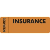 "Insurance Labels, INSURANCE - Fl Orange (Wrap-around), 3"" X 1"" (Roll of 250)"