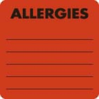 "Allergy Warning Labels, ALLERGIES - Fl Red 2"" X 2"" (Roll of 250)"