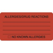 "S-8061 - Allergy Warning Labels, ALLERGIES/DRUG REACTIONS - Fl Red, 3-1/4"" X 1-3/4"" (Roll of 250)"