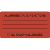 "Allergy Warning Labels, ALLERGIES/DRUG REACTIONS - Fl Red, 3-1/4"" X 1-3/4"" (Roll of 250)"