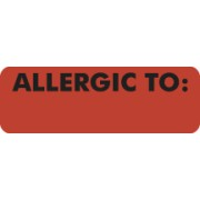 S-3240 - Allergy Warning Labels, ALLERGIC TO: - Fl Red, 3