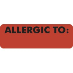 "Allergy Warning Labels, ALLERGIC TO: - Fl Red, 3"" X 1"" (Roll of 250)"