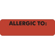 S-326 - Allergy Warning Labels, ALLERGIC TO: - Fl Red, 2 1/2