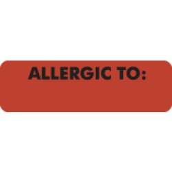 "Allergy Warning Labels, ALLERGIC TO: - Fl Red, 2 1/2"" X 3/4"" (Roll of 300)"