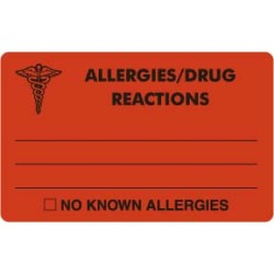 Allergy Warning Labels, ALLERGIES/DRUG REACTIONS - Fl Red, 4&#34 X 2-1/2&#34 (Roll of 100)