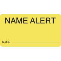 "Attention/Alert Labels, NAME ALERT - Fl Chartreuse, 3-1/4"" X 1-3/4"" (Roll of 250)"