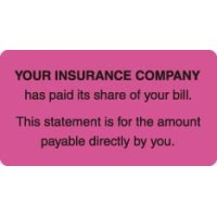 "Patient Responsibility Labels, YOUR INSURANCE COMPANY... - Fl Pink, 3-1/4"" X 1-3/4"" (R..."