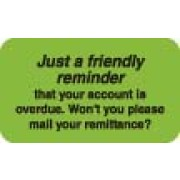 "S-4220 - Billing Collection Labels, Just a Friendly Reminder - Fl Green, 1-1/2"" X 7/8"" (Roll of 250)"