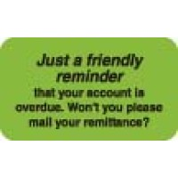"Billing Collection Labels, Just a Friendly Reminder - Fl Green, 1-1/2"" X 7/8"" (Roll of..."