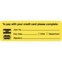 "Billing Collection Labels, To pay with your credit card... - Fl Chartreuse, 3"" X 1"" (R..."