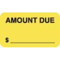 "Billing Collection Labels, AMOUNT DUE - Fl Chartreuse, 1-1/2"" X 7/8"" (Roll of 250)"