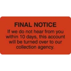 "Billing Collection Labels, Fl Red - FINAL NOTICE, 3-1/4"" X 1-3/4"" (Roll of 250)"